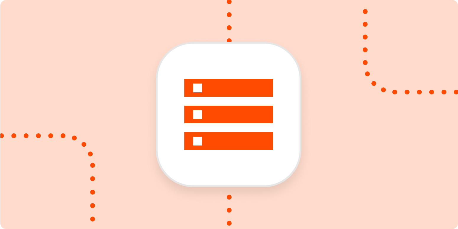 An icon representing tasks in a list in a white square on a light orange background.